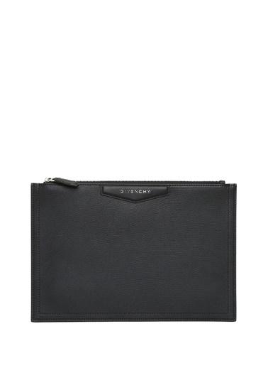 Givenchy Givenchy 101611296 Deri Fermuar Kapatmalı Logolu Kadın El Çantası Siyah